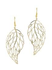 Stylish Gold Leaf Earrings - Blueberry