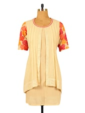 Off-white Tunic With Embroidered Sleeves - RiniSeal