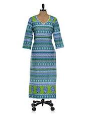 Blue And Green Printed Long Kurta - Tissu