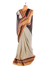 Printed Black And Beige Saree With Gold Border - Fabdeal