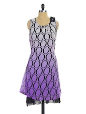 White And Purple Printed Kurti - Pothys