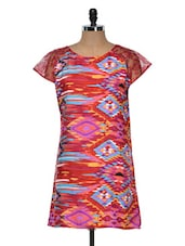 Red Printed Kurti With Lace Sleeves - Yepme