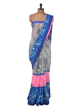 Blue And Grey Georgette Saree - Purple Oyster