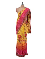 Yellow And Pink Floral Georgette Saree - Purple Oyster