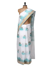 Graceful White And Blue Cotton Saree - Purple Oyster
