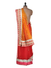 Orange And Red Embellished Saree - Purple Oyster