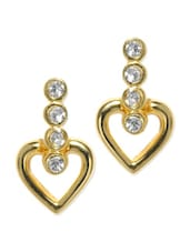 Gold Plated Heart Drop Earrings - Estelle