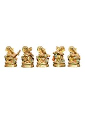 GOLD GANESH WITH MUSICAL INSTRUMENTS SET OF 5 - Neptune