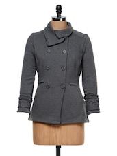 Charcoal Grey Double-breasted Jacket - Femella