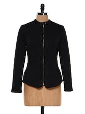 Black Front Zip-up Biker Jacket - Femella
