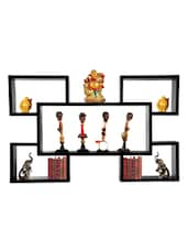 BLACK CUBED LOOK ALL IN ONE WALL SHELF - Oakwood