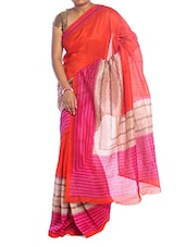 Chic Pink-orange Art Silk Saree - Saraswati