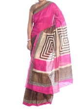 Pink And Brown Art Silk Saree - Saraswati