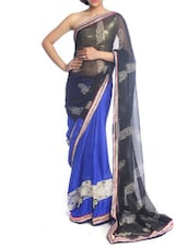 Blue And Black Art Silk Saree - Saraswati