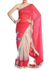 Red And White Saree With Gold Border - Saraswati