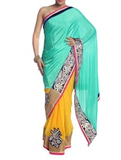 Sea Green And Yellow Art Silk Saree - Saraswati