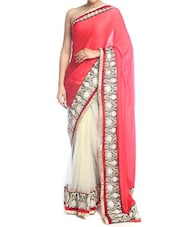 Regal Red And White Art Silk Saree - Saraswati
