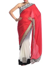 Red And White Art Silk Saree - Saraswati