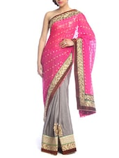 Luxe Pink And Grey Bridal Saree - Saraswati