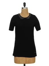 Solid Black Top With Peter Pan Collar - Ozel Studio