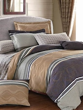 Grey And Beige Double Bedsheet With Pillow Cover - Bianca