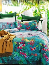 Cyan Floral Double Bedsheet With Pillow Cover - Bianca