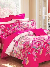 Magenta Flora Double Bedsheet With Pillow Cover - Bianca