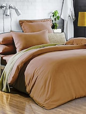 Light Brown Double Bedsheet With Pillow Cover - Bianca