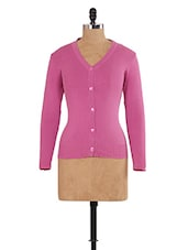 Solid Pink Knitted Cardigan -  online shopping for Cardigans