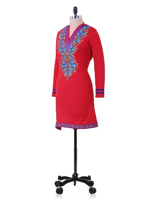 Red And Blue Winter woolen kurta - 937252 - Standard Image - 2