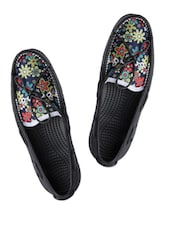 Floral Print Black Casual Loafers - Spice