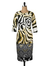 Black, White And Yellow Printed Dress - Queens