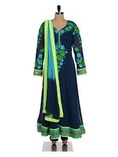Chic Floral Navy Anarkali Suit Set - Divya Kanakia