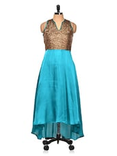 High Low Teal Party Dress With Shimmery Yoke - BOLLYDIVA