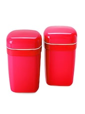 Red Food Grade Plastic   Big Container Set  Set Of  2 - Cello