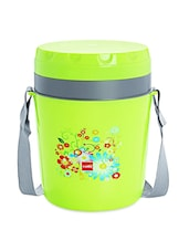 Green BPA Free Plastic Container &  Insulated Food Grade Plastic Body Lunch Carrier Set Of  4 Container - Cello