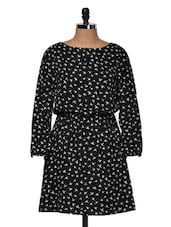 Black Bird Print Full Sleeved Dress - Muah