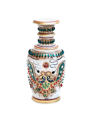 Flower Pot in Marble with Double Peacock Painted with Fine Stone Work