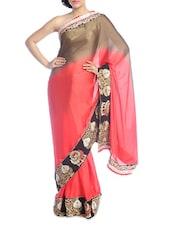 Coral And Gold Shaded Saree - Suchi Fashion