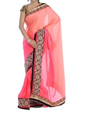 Pink Shaded Saree With Floral Border - Suchi Fashion