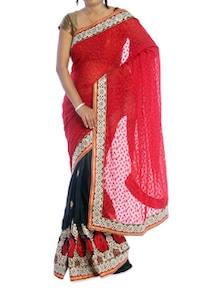 Red And Grey Saree With White Border - Suchi Fashion