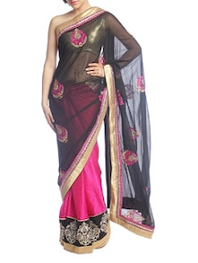 Pink And Black Saree With Gold Border - Suchi Fashion