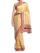 Stylish Gold Saree With Red Border - Suchi Fashion