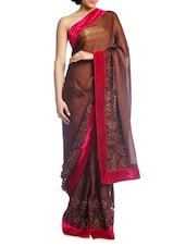 Solid Brown Saree With Magenta Border - Suchi Fashion
