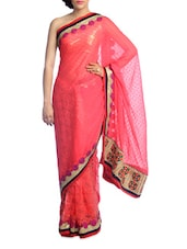 Solid Coral Saree With Gold Border - Suchi Fashion