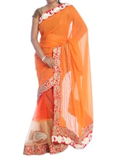 Orange Saree With Gold Border - Suchi Fashion