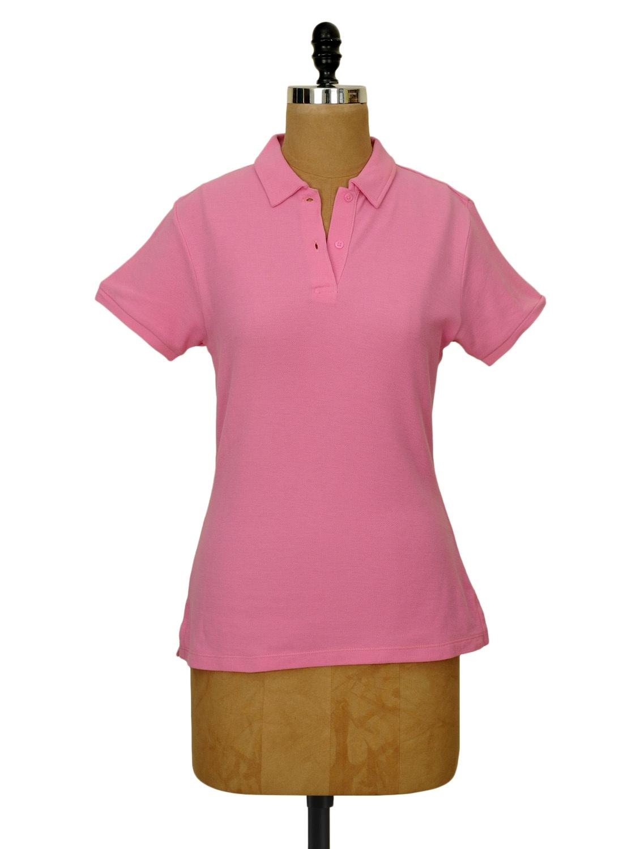 Solid Rose Pink Collared T-shirt - CHERYMOYA
