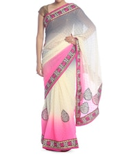 Cream, Pink And Grey Saree - Saraswati