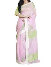 Pink And Green Saree - Cotton Koleksi