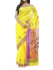Yellow And Pink Phool Par Woven Design Saree - Cotton Koleksi
